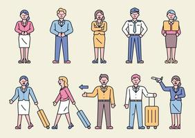 A collection of flight attendant characters making various gestures. vector