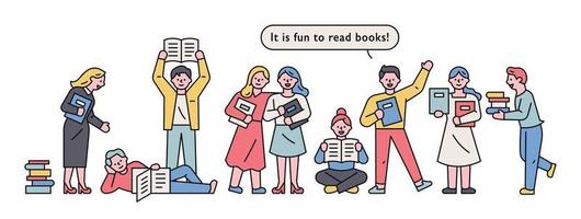 Set of people reading books vector