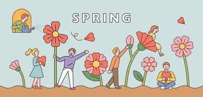 People walking through a large flower garden. Horizontal banner template vector
