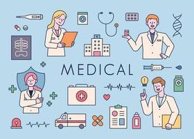 Iconos médicos con médicos haciendo diferentes gestos. vector