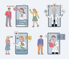 Online health care with mobile phone vector