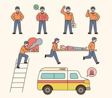 Firefighter paramedics character collection. Paramedics rescueing and transporting patients vector