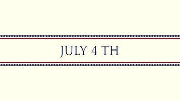 Primer plano animado texto 4 de julio sobre fondo de vacaciones, día de la independencia de EE. UU. video