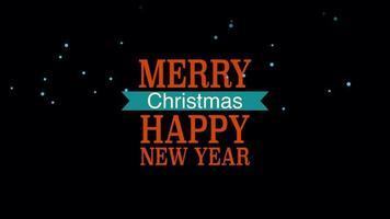 closeup animado texto de feliz ano novo e feliz natal em fundo preto