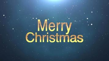 closeup animado texto de feliz natal em fundo azul