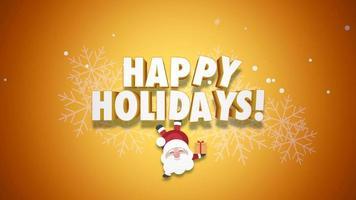animerad närbild glad jul text och jultomten med presentaskar på gul bakgrund video