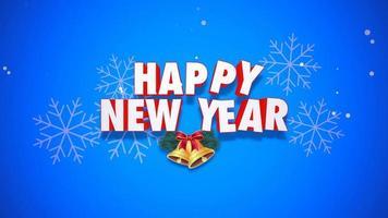 closeup animado texto de feliz ano novo e sinos em fundo azul