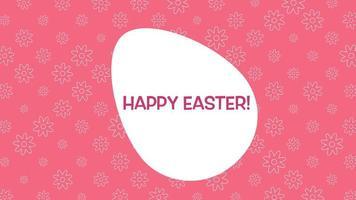 Gros plan animé texte joyeuses Pâques et oeuf sur fond rouge