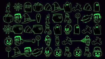 halloween bakgrundsanimering med pumpor, skalle, kistor, spöken