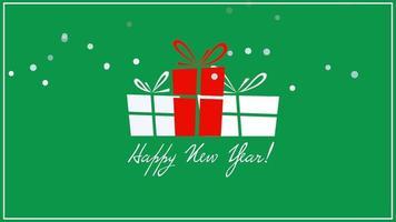 closeup animado texto de feliz ano novo, três caixas de presente em fundo verde