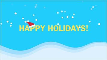 animerad närbild glad semester text på snö bakgrund