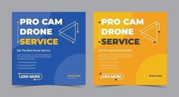 Pro cam drone service poster, drone social media post and flyer vector
