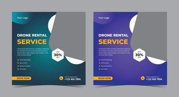 Drone rental service poster, drone social media post and flyer vector