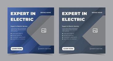 experto en póster eléctrico, publicación en redes sociales de electricista y folleto.