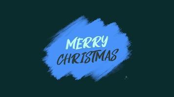 texto de introducción de animación feliz navidad sobre fondo azul de moda y pincel