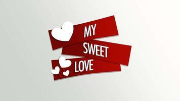 animierte Nahaufnahme meine süße Liebe Text und Bewegung romantische weiße Herzen auf Valentinstag Hintergrund