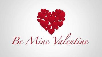 primo piano animato essere il mio testo di San Valentino e movimento romantici piccoli cuori rossi su sfondo di San Valentino video