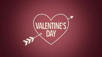 animierte Nahaufnahme Valentinstag Text und Bewegung Herz mit Pfeil auf Valentinstag Hintergrund