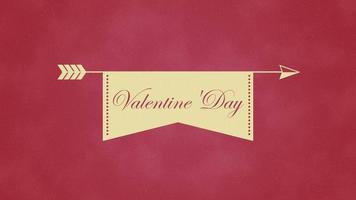 testo animato di San Valentino primo piano e cuore di movimento con la freccia su sfondo di San Valentino video