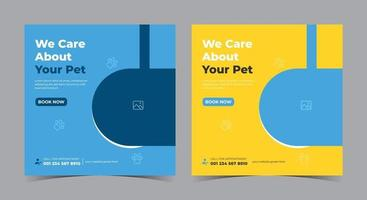We care about your pet poster, Pet care social media post and flyer vector