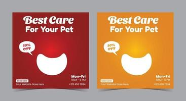 Best pet care service poster, Pet care social media post and flyer vector