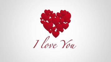 animierte Nahaufnahme Ich liebe dich Text und Bewegung romantische kleine rote Herzen auf Valentinstag Hintergrund
