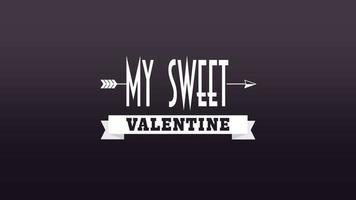 animierte Nahaufnahme mein süßer Valentinstext und bewegungsromantischer Pfeil auf Valentinstaghintergrund