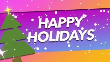 Texte de joyeuses fêtes de gros plan animé et flocons de neige blancs avec arbre et cadeau sur fond de vacances
