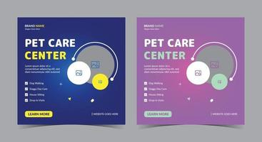 Pet care service poster, Pet care social media post and flyer vector