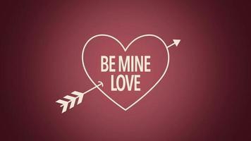 animierte Nahaufnahme sei mein Liebestext mit Bewegungspfeil auf Valentinstaghintergrund