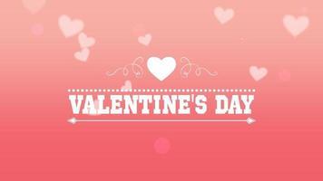 animierte Nahaufnahme Valentinstag Text und fliegen romantische rosa Herzen auf Valentinstag Hintergrund