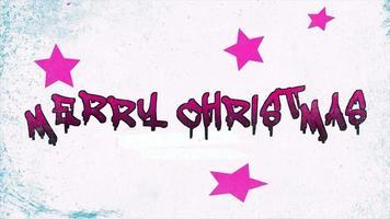 Animations-Intro-Text Frohe Weihnachten auf weißem Hipster und Grunge-Hintergrund mit Sternen