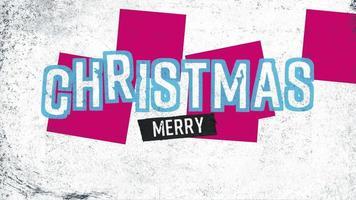 Animationstext frohe Weihnachten auf weißem Hipster und Schmutzhintergrund mit geometrischer Form