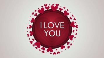 animierte Nahaufnahme Ich liebe dich Text und Bewegung kleine rote Herzen auf Valentinstag Hintergrund
