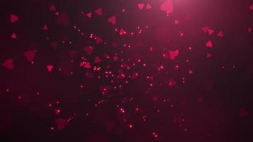 animering närbild rörelse små romantiska hjärtan och glittrar på röd alla hjärtans dag blank bakgrund