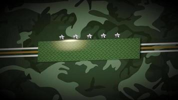 animeringslinjer och militära stjärnor på grön bakgrund