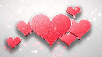 animation closeup motion coeurs romantiques sur fond brillant de la Saint-Valentin