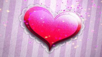 animatie close-up beweging romantisch hart op Valentijnsdag glanzende achtergrond video