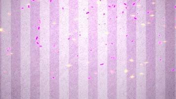 animering närbild flyga färgglada konfetti på rosa alla hjärtans dag blank bakgrund