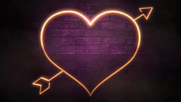 animatie close-up beweging romantisch hart op Valentijnsdag glanzende achtergrond