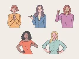 Set of girls doing positive gestures vector