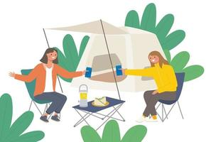 Two friends camping in the woods vector