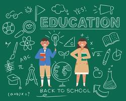 Elementary school student education concept. Doodle background school supplies with cute student characters. vector