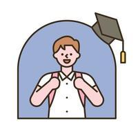 un niño con una mochila escolar. Ilustración de vector mínimo de estilo de diseño plano.