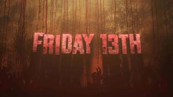 texto de animação sexta-feira 13 sobre fundo de terror místico com sangue e mãos escuras