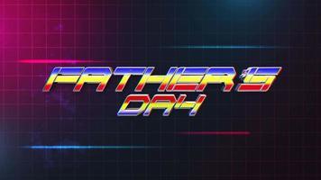 texte d'animation fête des pères et lignes abstraites de mouvement sur la carte grille, fond de vacances rétro