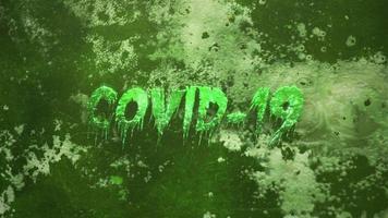 texto closeup animado covid-19 e fundo de terror místico com sangue escuro e câmera de movimento
