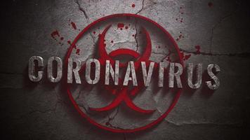 Coronavírus de texto em close-up animado e fundo de terror místico com sinal tóxico e sangue escuro