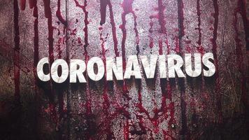 animerad närbildstext coronavirus och mystisk skräckbakgrund med mörkt blod på väggen video