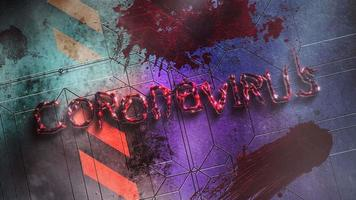 Coronavírus de texto de close up animado e fundo de terror místico com sangue escuro na parede